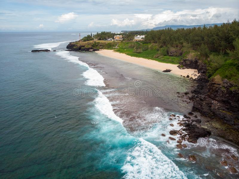 The Southest point of Mauritius. Africa Indian Ocean. Beautiful, summer 2019. Taken from drone stock image