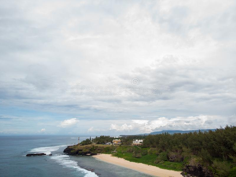 The Southest point of Mauritius. Africa Indian Ocean. Beautiful, summer 2019. Taken from drone stock images