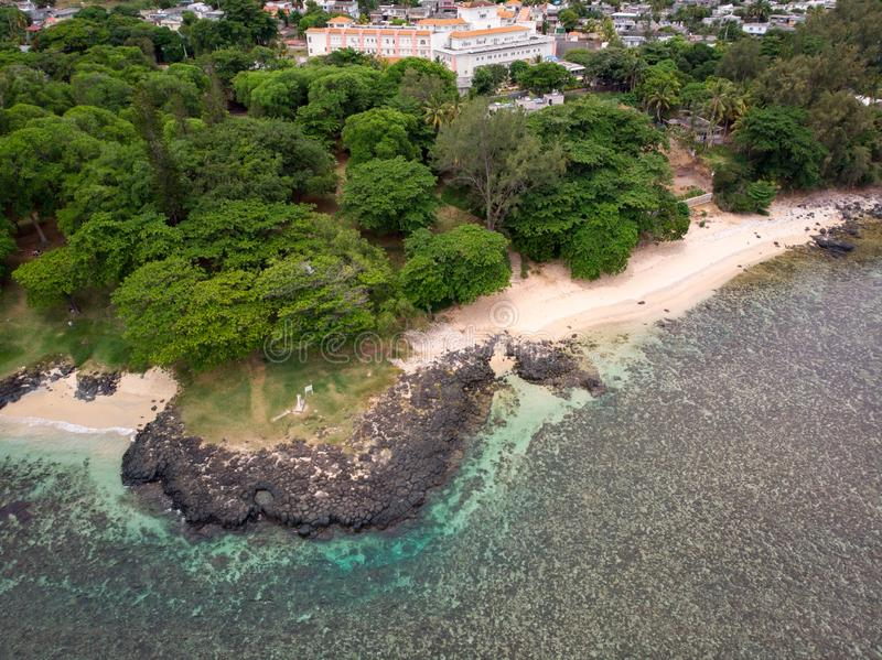 The Southest point of Mauritius. Africa Indian Ocean. Beautiful, summer 2019. Taken from drone royalty free stock photo