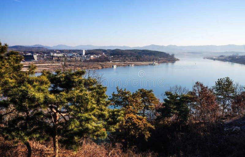 southkorea τοπίου χειμερινών μπλε ποταμών στοκ φωτογραφίες με δικαίωμα ελεύθερης χρήσης