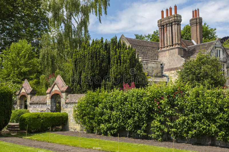 Southover Grange Gardens in Lewes. A view of Southover Grange from Southover Grange Gardens in the historic town of Lewes in East Sussex, UK stock image