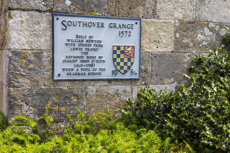 Southover Grange in Lewes. A plaque at Southover Grange, detailing its history, in the historic town of Lewes in East Sussex, UK stock image