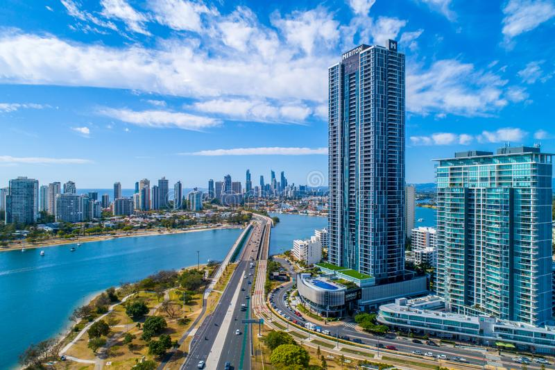 Southport Gold Coast QLD Australia. This is an image taken from a drone from Southport Gold Coast QLD Australia, looking down the Gold Coast City royalty free stock image