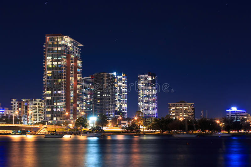 Download Southport at night stock image. Image of blue, apartment - 30706197