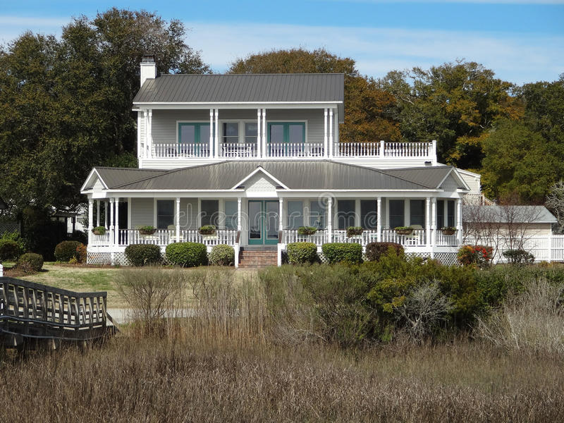 Southport, North Carolina Coastal Living. A two-story white house with southern charm in coastal Southport, North Carolina royalty free stock photo
