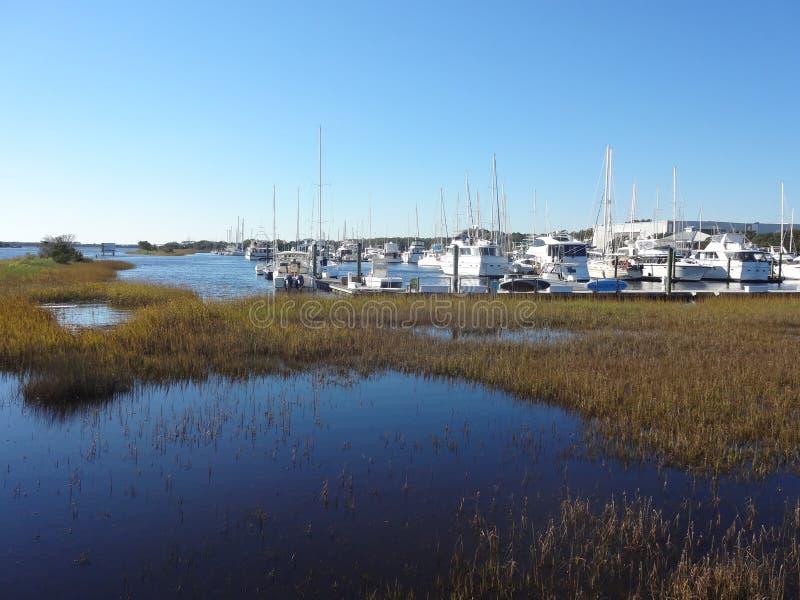 Southport, North Carolina Marina. Boats docked at the marina in Southport, NC royalty free stock images