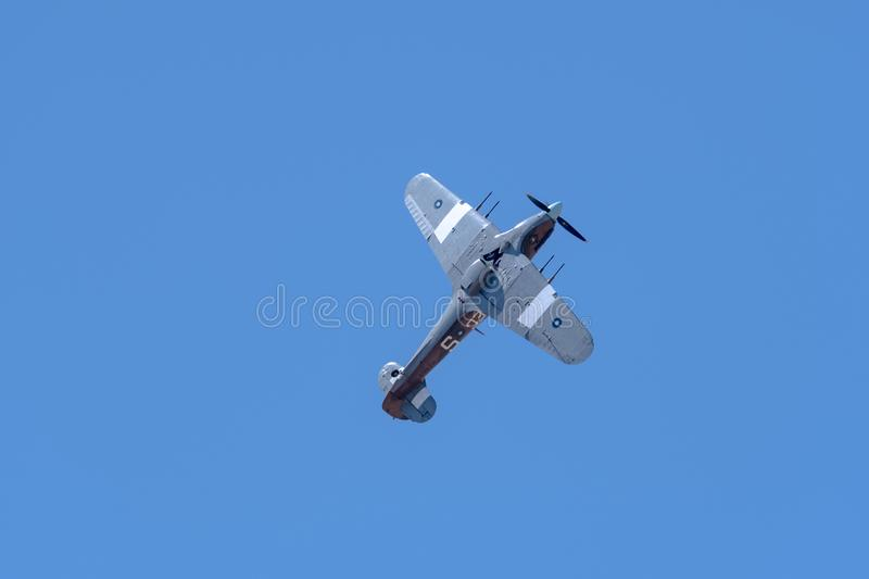 SOUTHPORT, UK JULY 8 2018: A photograph documenting a Hawker Hu. Rricane of Battle of Britain Memorial Flight performing at the annual Southport Airshow stock photography