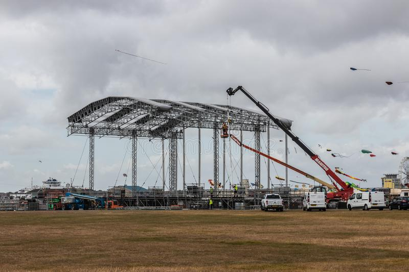 The main stage for Portsmouth`s Victorious festival being built at Southsea common. 08/11/2019 Southsea, Portsmouth, Hampshire, UK the main stage for Portsmouth` stock photo