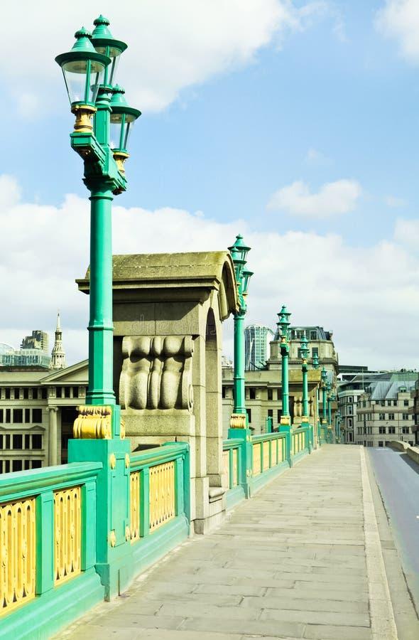 Southwark Bridge. Pavement on Southwark Bridge in London, looking north stock photo