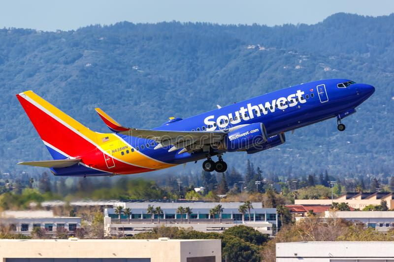 Southwest Airlines Boeing 737-700 airplane San Jose airport. San Jose, California – April 10, 2019: Southwest Airlines Boeing 737-700 airplane at San Jose royalty free stock photos