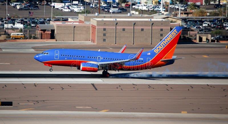Southwest Airlines Jet. Southwest Airlines aeroplane lands at Phoenix Sky Harbour (PHX
