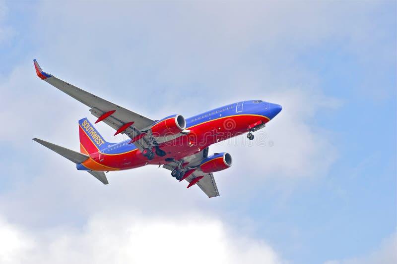 Southwest Airlines kommersiell stråle royaltyfri foto