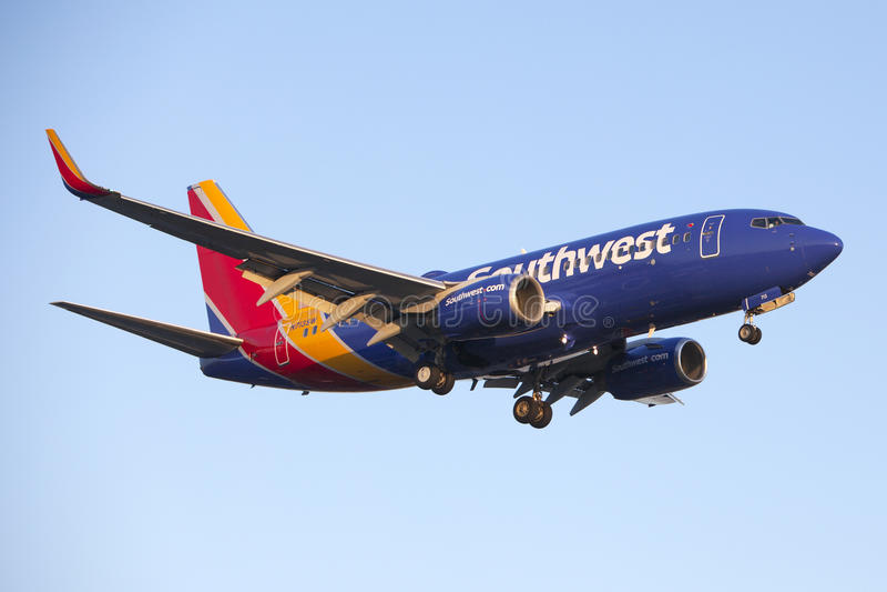 Southwest Airlines 737 reklamy Dżetowy samolot obrazy royalty free
