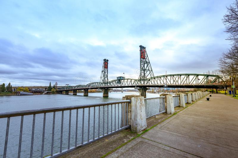 Southwest Hawthorne Bridge view from waterfront park portland. Portland, United States - Dec 19, 2017 : Southwest Hawthorne Bridge view from waterfront park royalty free stock photography
