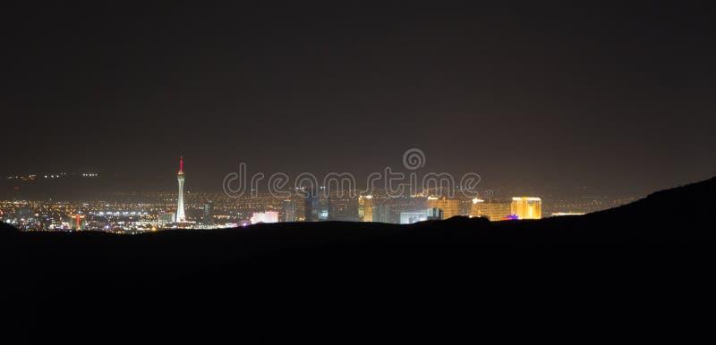 Southwest Landscape Red Rock Hills Downtown Las Vegas at night. Southwest Landscape  Red Rock Hills Downtown Las Vegas at night stock image