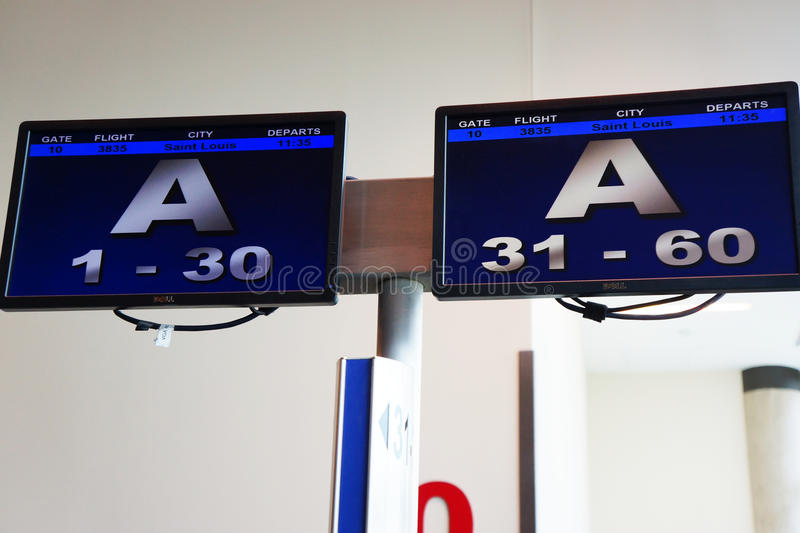 Southwest passengar loading signs in Dallas, Texas airport. Group A information for passengers to line up and prepare to board in Dallas, Texas airport stock photography