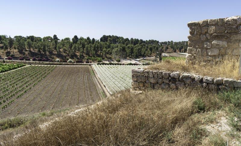 The Southwest Tower and Moshav Lachish at Tel Lakhish in Israel royalty free stock photo
