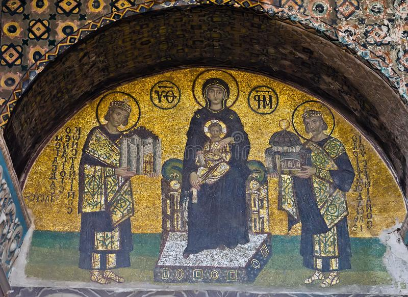 Southwestern entrance mosaic Child Christ. ISTANBUL - MAY 01, 2014: Christian mosaic icon in Cathedral mosque Hagia Sofia. Southwestern entrance mosaic Mother of royalty free stock photo