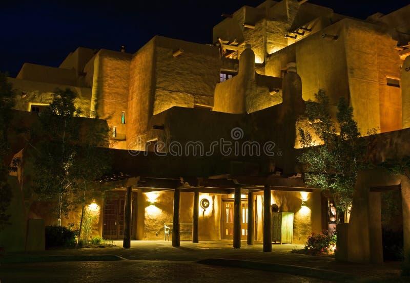 Southwestern resort at night stock photos