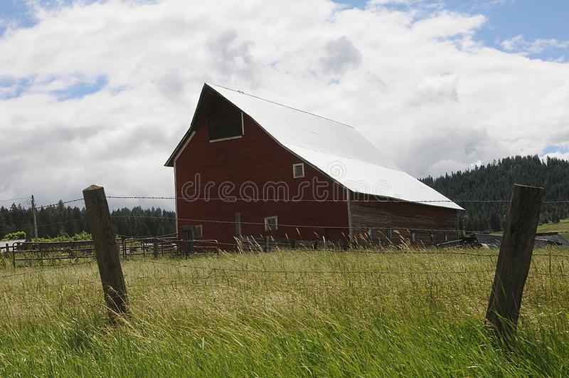 OLD BARNS AND CARS AND PICKUPS IN NEZ PERCE COUNTY stock photo