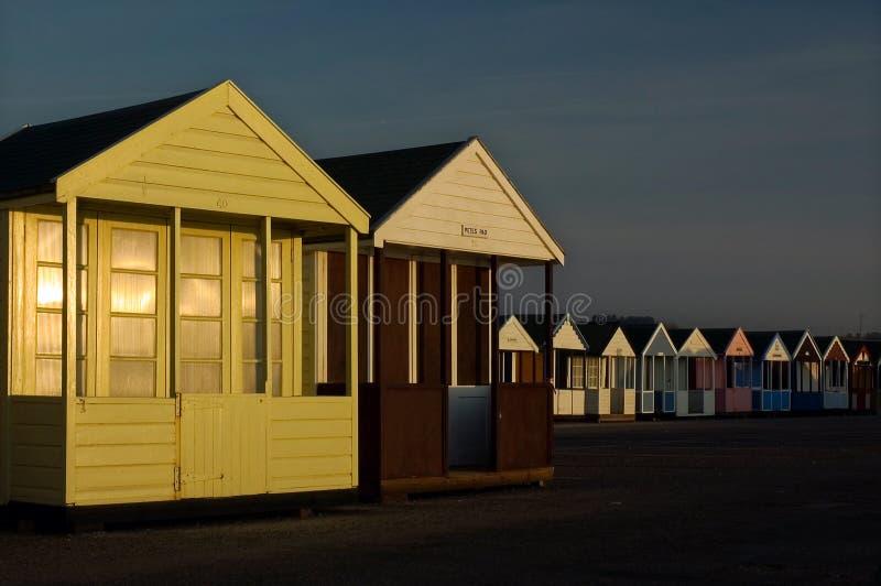 Southwold英国清早日出海滩小屋  免版税库存图片