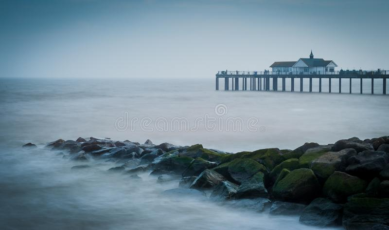 Southwold de scape de mer de jetée photographie stock libre de droits