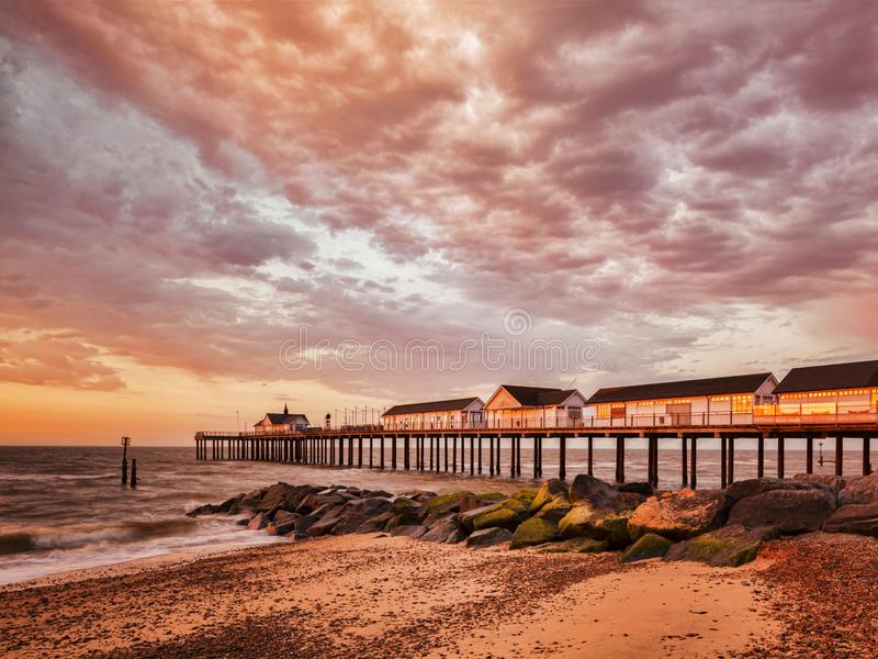 Southwold Pier with Orange Sky UK stock images