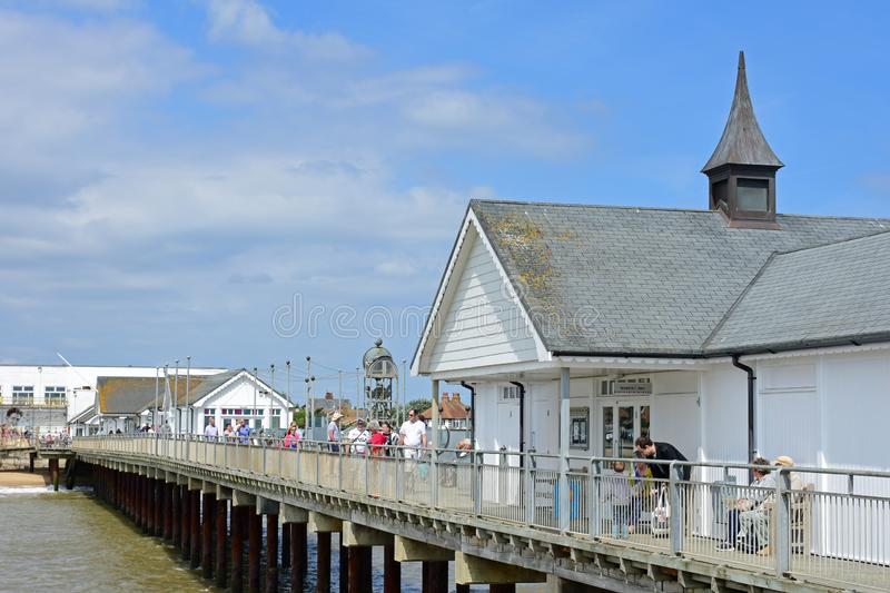 Southwold Pier, Suffolk, England. Southwold Pier was built in 1900. At 247 metres 810 ft it was long enough to accommodate the Belle steamers which carried stock photo