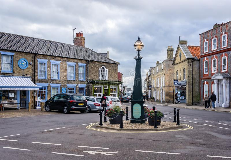 Southwold stadskärna och marknadsplats i Southwold, Suffolk, UK arkivfoto
