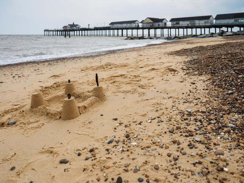SOUTHWOLD, SUFFOLK/UK - JUNE 12 : Sandcastle on the Beach at Sou royalty free stock photography