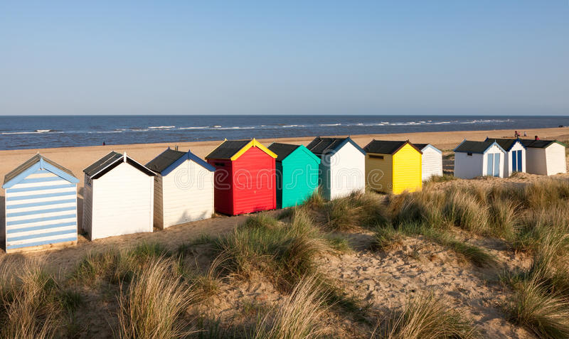 SOUTHWOLD, SUFFOLK/UK - MAY 31 : Colourful beach huts at Southwold beach Suffolk on May 31, 2010. Unidentified people. royalty free stock photography
