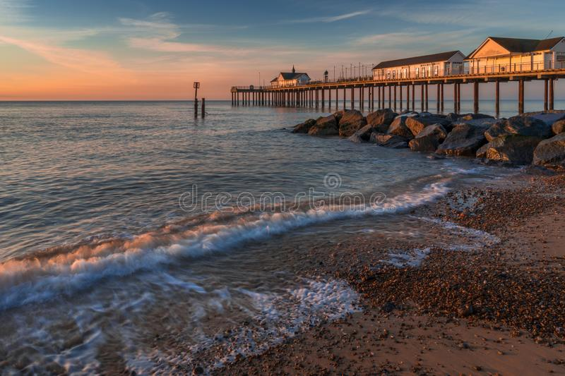 SOUTHWOLD, SUFFOLK/UK - MAY 24 : Sunrise over Southwold Pier in royalty free stock photo