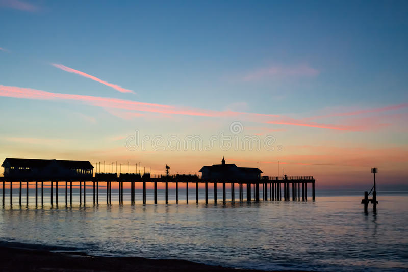 SOUTHWOLD, SUFFOLK/UK - MAY 24 : Sunrise over Southwold Pier Suffolk on May 24, 2017 stock photos