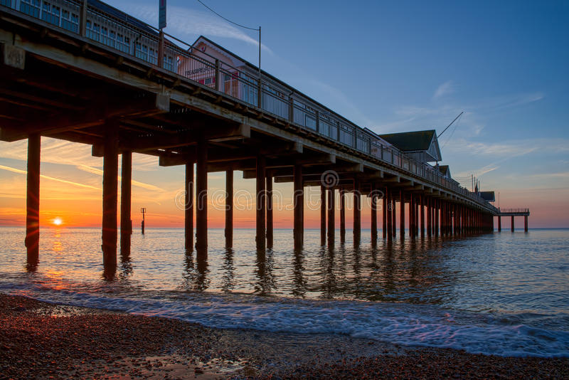 SOUTHWOLD, SUFFOLK/UK - MAY 24 : Sunrise over Southwold Pier Suffolk on May 24, 2017 stock photo
