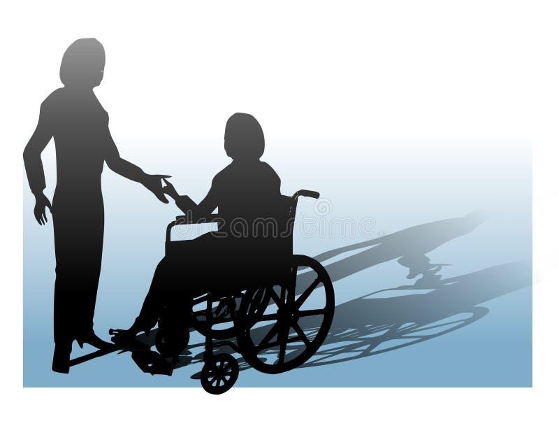 Soutien de la personne dans le fauteuil roulant illustration libre de droits