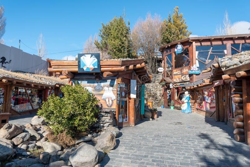 Souvenir and artisan shops in El Calafate in Santa Cruz Province, Argentina royalty free stock images