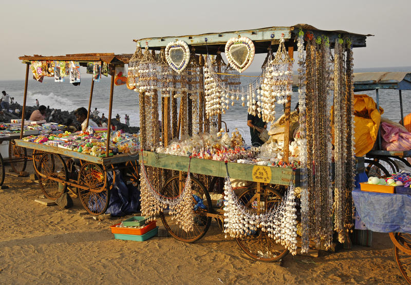 Souvenir cart on the beach in Pondicherry royalty free stock images