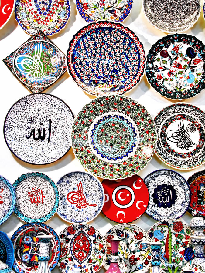 Souvenir ceramics. On the wall at Grand Bazaar in Istanbul stock photography