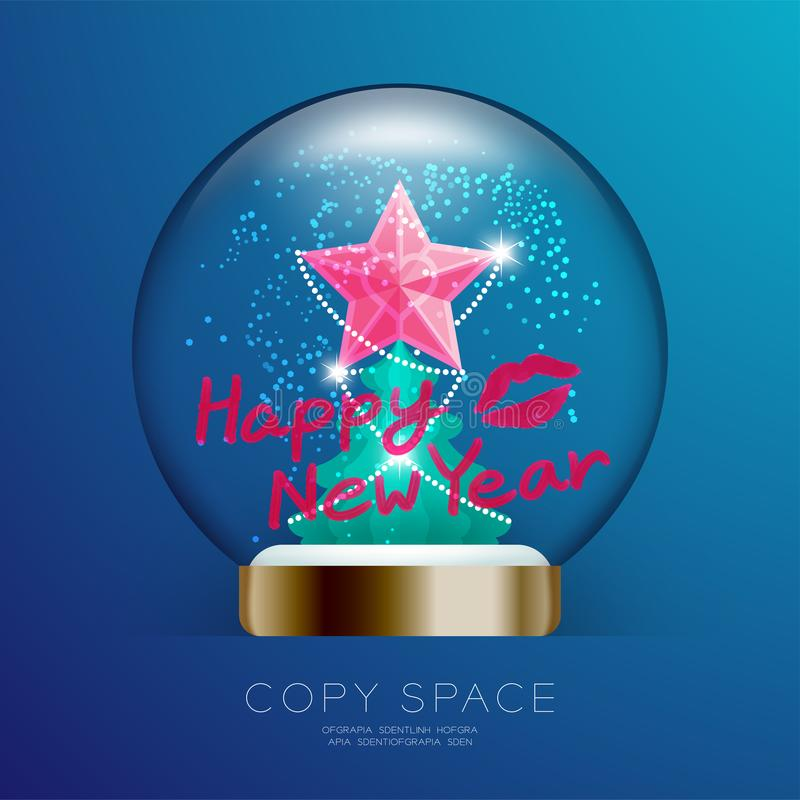 Souvenir Christmas Snowball Glass glitter with pink star, Happy New year text write by lipstick and kisses set illustration vector illustration