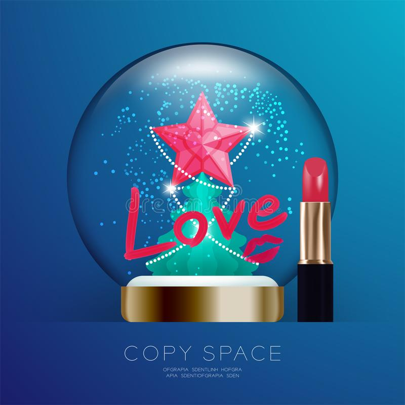 Souvenir Christmas Snowball Glass glitter with pink star, Love text write by lipstick and kisses set illustration royalty free illustration