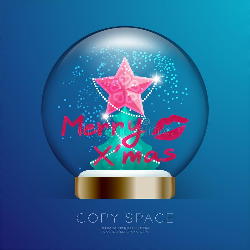 Souvenir Christmas Snowball Glass glitter with pink star, merry xmas text write by lipstick and kisses set illustration vector illustration