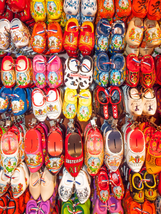 Souvenir clogs. Souvenir mini clogs displayed in a tourist shop in amsterdam the netherlands royalty free stock photo