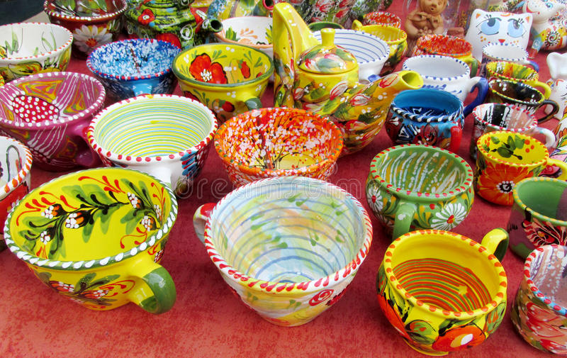 Souvenir colorful plates sold on the street stock photo