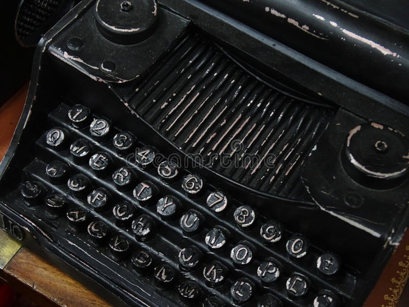 Souvenir in the form of an old typewriter. Statuette, retro, writer, rare stock photos