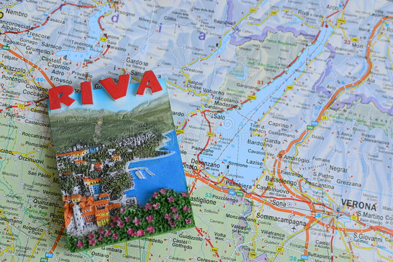 Souvenir from Garda lake, Italy. On the map royalty free stock images