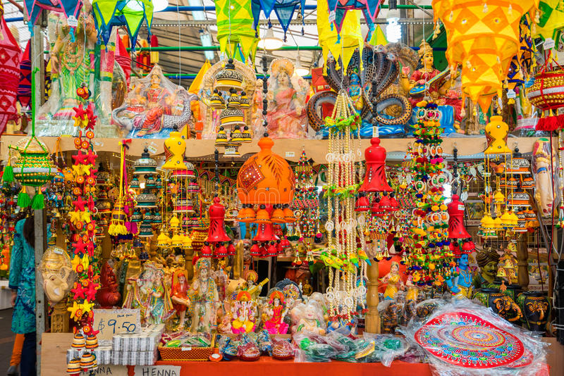 Souvenir in gift shops at Little India, Singapore royalty free stock image