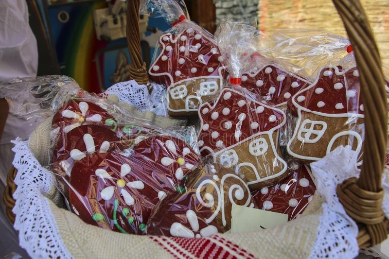 Souvenir gingerbread of different shapes on one of the agricultural markets in Sighisoara, Romania. royalty free stock photo