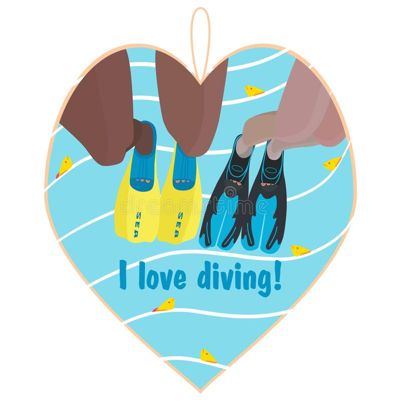 Souvenir heart on a marine theme. I love diving Male and female legs in flippers jump into the water. Yellow fish in the sea. Summer concept of recreation vector illustration