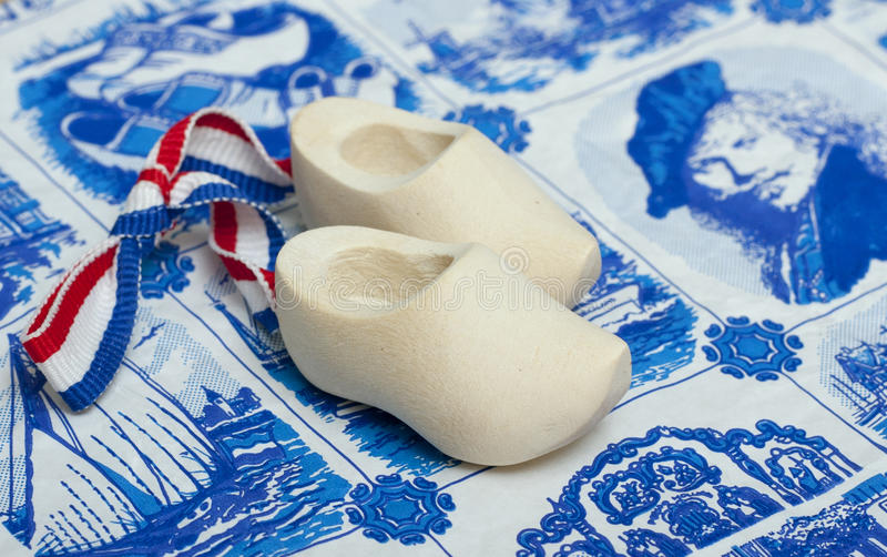 Souvenir from Holland. Wooden shoes-clogs, souvenir from holland stock image