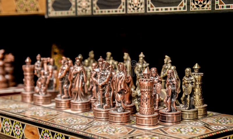 Souvenir iron chess for sale at old market. Jerusalem. Israel royalty free stock photography